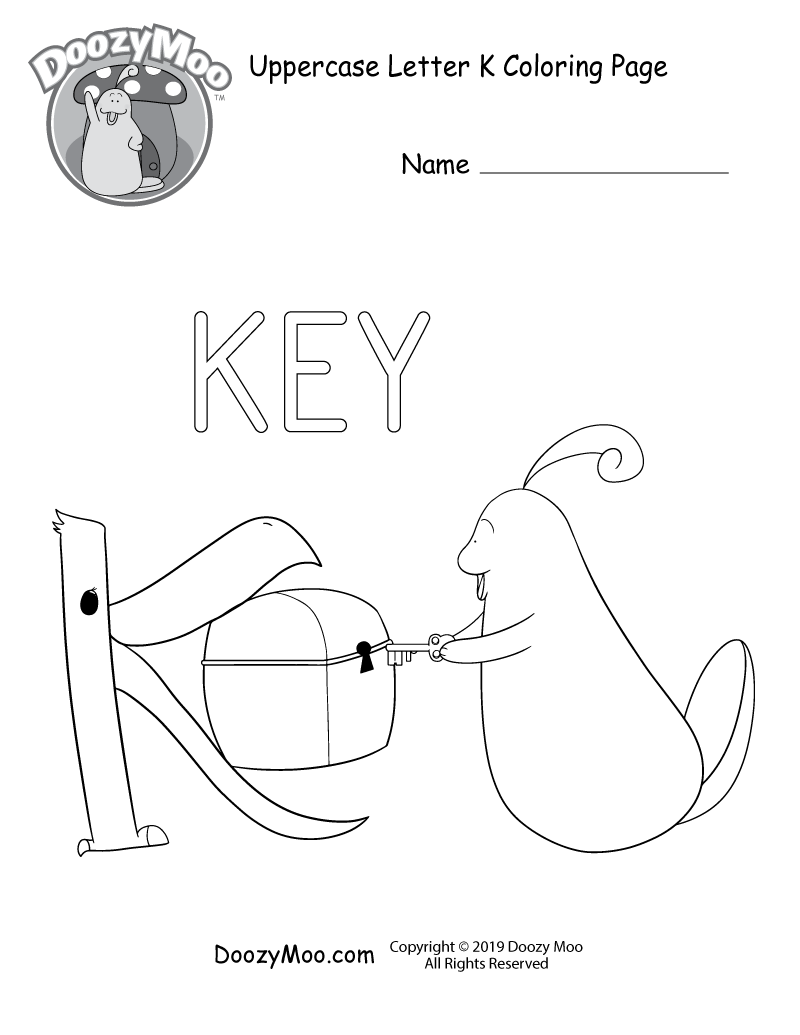 The letter K holds up a treasure chest so that Doozy Moo can easily open it with a key in this uppercase letter K coloring page.