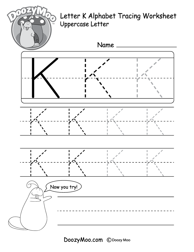uppercase letter k tracing worksheet doozy moo. Black Bedroom Furniture Sets. Home Design Ideas
