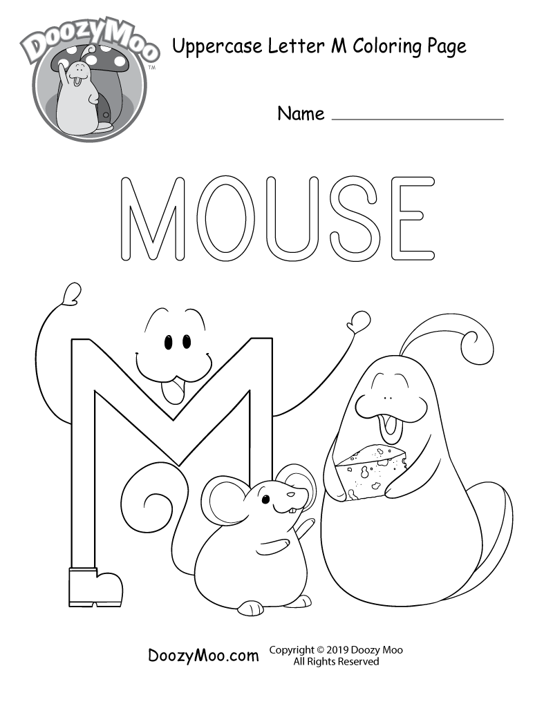The letter M watches Doozy Moo hold a piece of cheese in front of a mouse in this uppercase letter M coloring page.