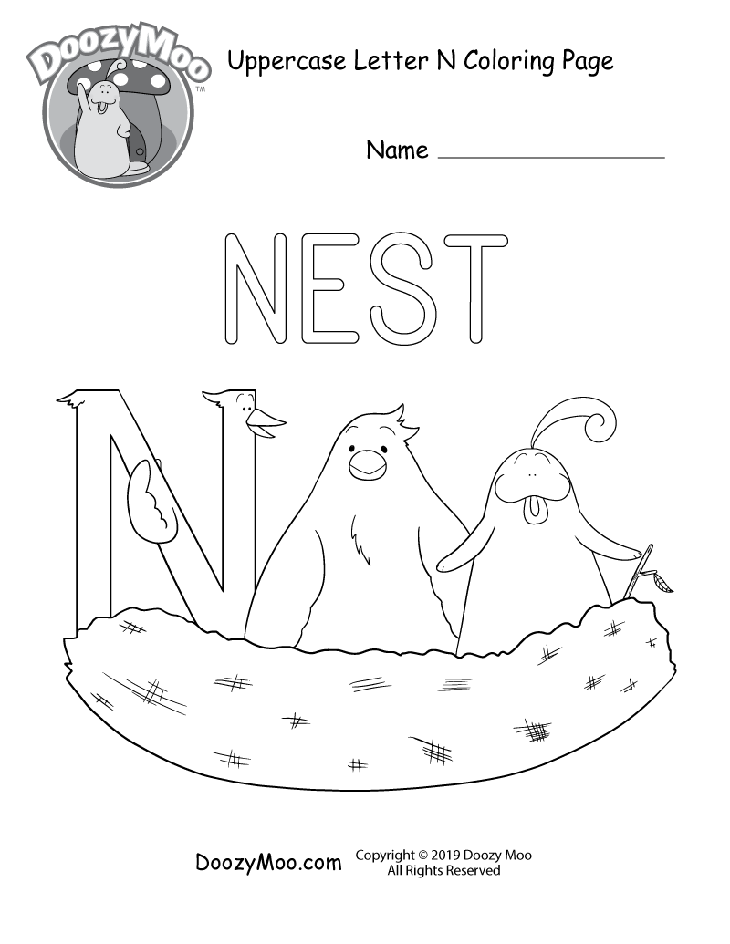 The letter N sits in a nest with a bird and Doozy Moo in this uppercase letter N coloring page.