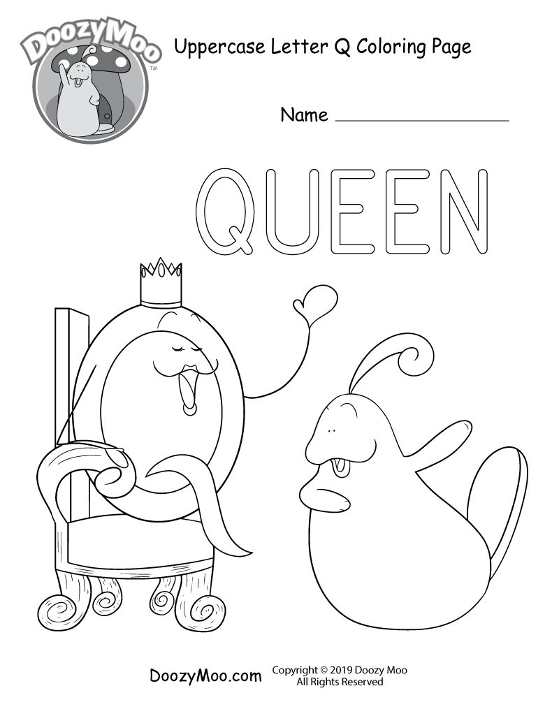 The letter Q is pretending to be a queen in this uppercase letter Q coloring page.