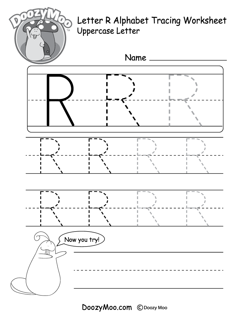 uppercase letter r tracing worksheet doozy moo. Black Bedroom Furniture Sets. Home Design Ideas