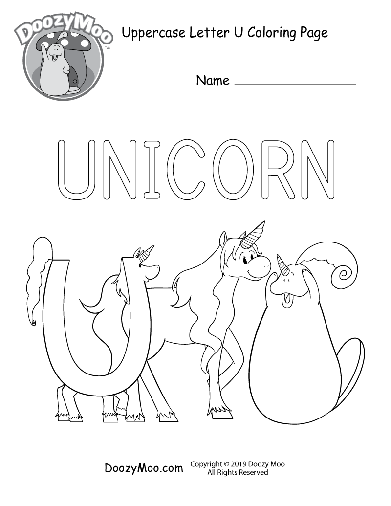 Doozy Moo and the letter U are both dressed as unicorns while they spend time with their friend who happens to be unicorn in this uppercase letter U coloring page.