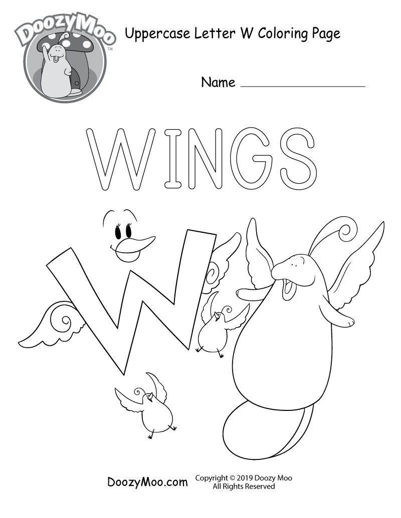 The letter W, Doozy Moo, and their friends all have wings in this uppercase letter W coloring page.