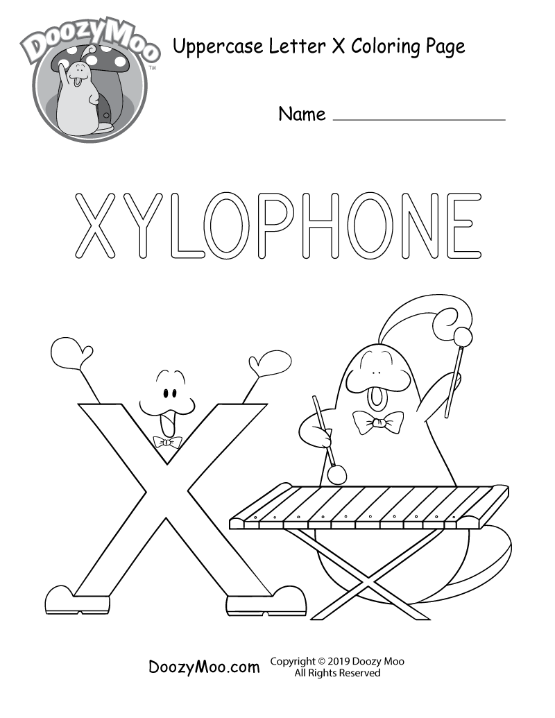 doozy moo plays the xylophone as letter x looks on in this uppercase letter x coloring