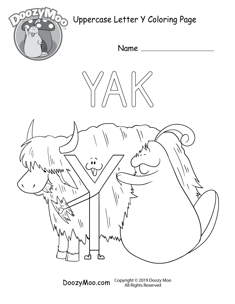 The letter Y and Doozy Moo pet a yak in this uppercase letter Y coloring page.