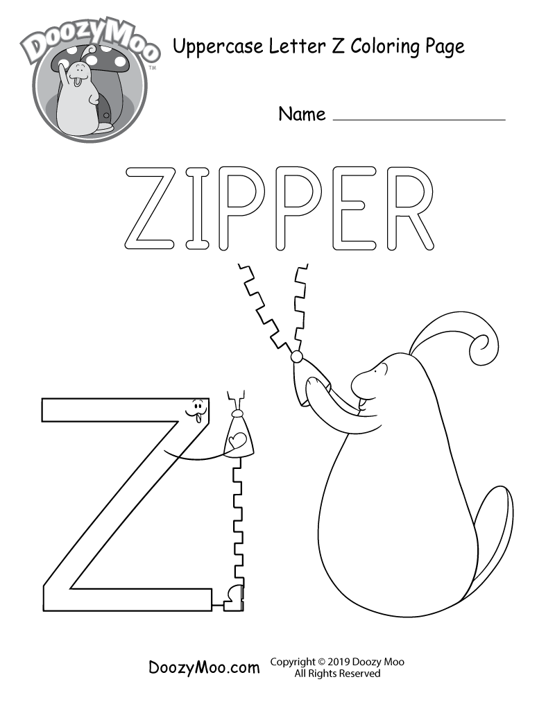 The letter Z and Doozy Moo are both opening zippers in this uppercase letter Z coloring page.