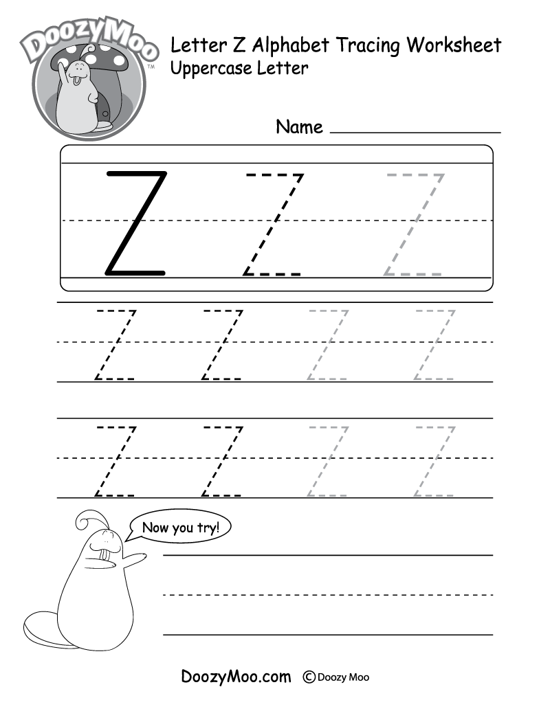 worksheet Letter Z Worksheet uppercase letter z tracing worksheet doozy moo worksheet